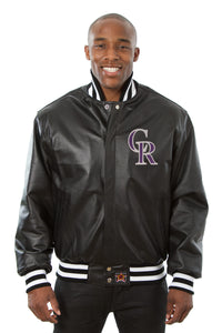 Colorado Rockies Full Leather Jacket - Black - JH Design