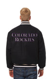 Colorado Rockies Wool Jacket w/ Handcrafted Leather Logos - Black - JH Design