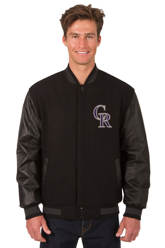 Colorado Rockies Wool & Leather Reversible Jacket w/ Embroidered Logos - Black - J.H. Sports Jackets