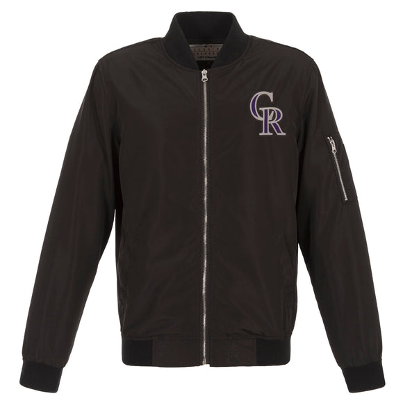 Colorado Rockies JH Design Lightweight Nylon Bomber Jacket – Black