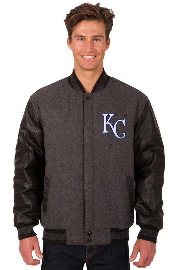 Kansas City Royals Wool & Leather Reversible Jacket w/ Embroidered Logos - Charcoal/Black
