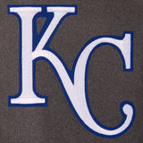 Kansas City Royals Wool & Leather Reversible Jacket w/ Embroidered Logos - Charcoal/Black - JH Design