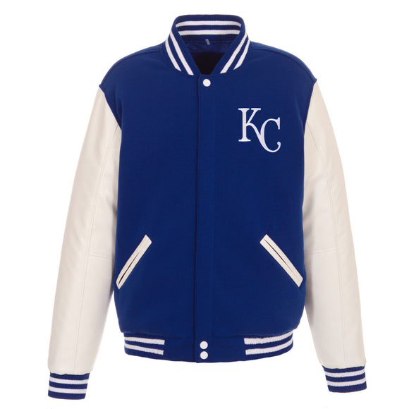 Kansas City Royals - JH Design Reversible Fleece Jacket with Faux Leather Sleeves - Royal/White - JH Design