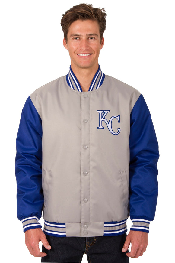 Kansas City Royals Poly Twill Varsity Jacket - Gray/Royal - JH Design