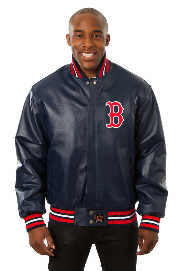Boston Red Sox Full Leather Jacket - Navy - JH Design
