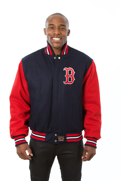 Boston Red Sox Two-Tone Wool Jacket w/ Handcrafted Leather Logos - Navy/Red