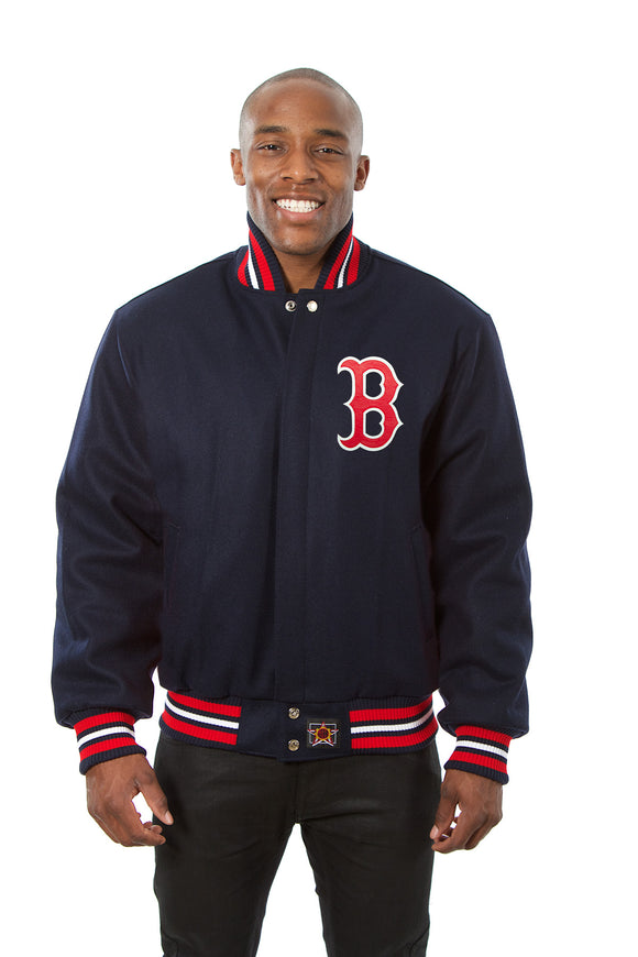 Boston Red Sox Wool Jacket w/ Handcrafted Leather Logos - Navy