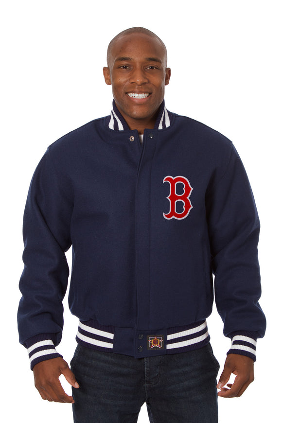 Boston Red Sox Embroidered Wool Jacket - Navy - JH Design