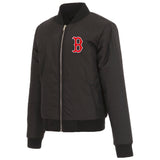 Boston Red Sox JH Design Reversible Women Fleece Jacket - Black - JH Design