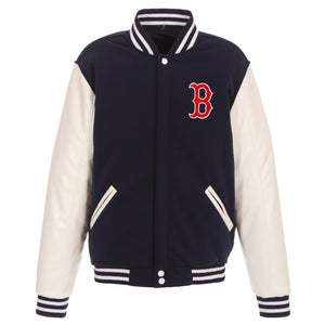 Boston Red Sox - JH Design Reversible Fleece Jacket with Faux Leather Sleeves - Navy/White - JH Design