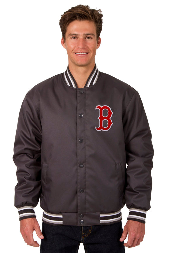 Boston Red Sox Poly Twill Varsity Jacket - Charcoal