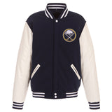 Buffalo Sabres JH Design Reversible Fleece Jacket with Faux Leather Sleeves - Navy/White - JH Design