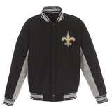 New Orleans Saints JH Design Wool Reversible Full-Snap Jacket – Black - JH Design