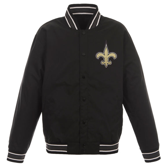 New Orleans Saints Poly Twill Varsity Jacket - Black - JH Design