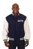 Seattle Seahawks Two-Tone Wool and Leather Jacket - Navy/White - JH Design