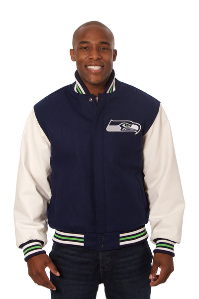 Seattle Seahawks Two-Tone Wool and Leather Jacket - Navy/White
