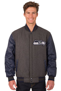 Seattle Seahawks Wool & Leather Reversible Jacket w/ Embroidered Logos - Charcoal/Navy - JH Design