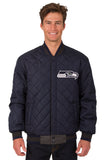 Seattle Seahawks Wool & Leather Reversible Jacket w/ Embroidered Logos - Charcoal/Navy