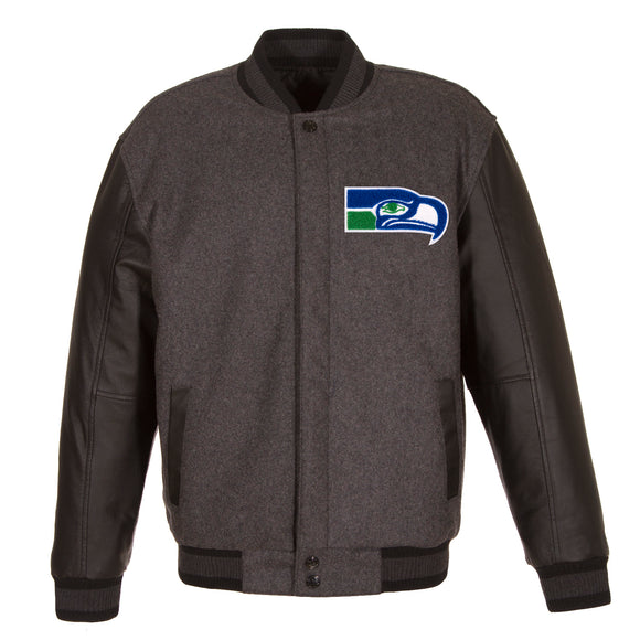 Seattle Seahawks Wool & Leather Throwback Reversible Jacket - Charcoal - JH Design