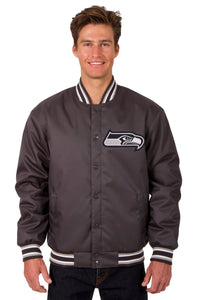 Seattle Seahawks Poly Twill Varsity Jacket - Charcoal - JH Design