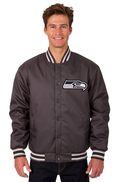 Seattle Seahawks Poly Twill Varsity Jacket - Charcoal