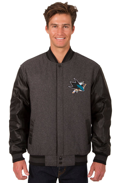 San Jose Sharks Wool & Leather Reversible Jacket w/ Embroidered Logos - Charcoal/Black
