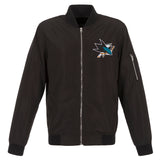 San Jose Sharks JH Design Lightweight Nylon Bomber Jacket – Black - JH Design