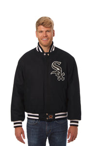 Chicago White Sox Wool Jacket w/ Handcrafted Leather Logos - Black