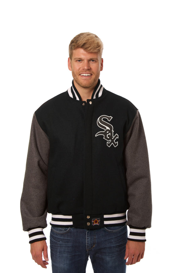 Chicago White Sox Two-Tone Wool Jacket w/ Handcrafted Leather Logos - Black/Gray - JH Design