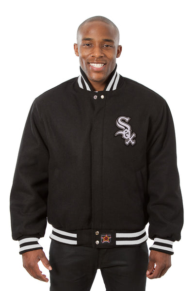 Chicago White Sox Embroidered Wool Jacket - Black