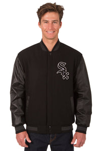 Chicago White Sox Wool & Leather Reversible Jacket w/ Embroidered Logos - Black - JH Design