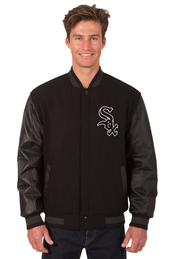 Chicago White Sox Wool & Leather Reversible Jacket w/ Embroidered Logos - Black