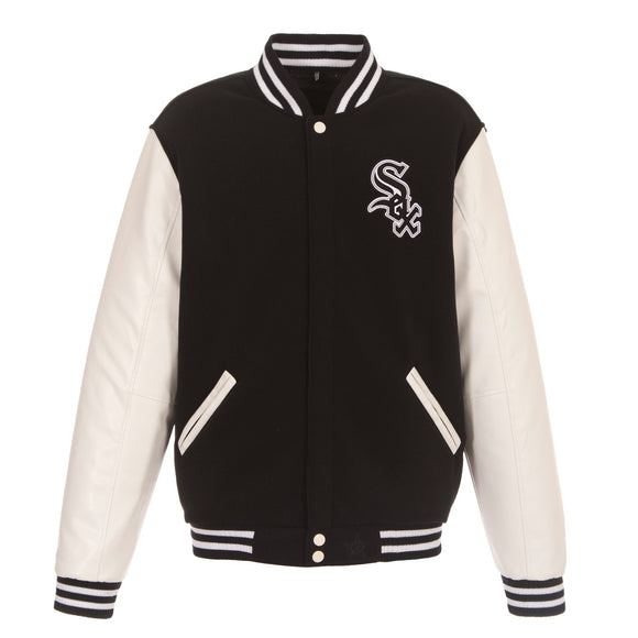 Chicago White Sox - JH Design Reversible Fleece Jacket with Faux Leather Sleeves - Black/White - JH Design