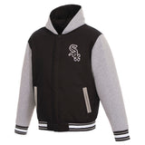 Chicago White Sox Two-Tone Reversible Fleece Hooded Jacket - Black/Grey - JH Design