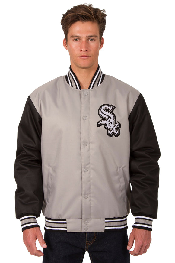 Chicago White Sox Poly Twill Varsity Jacket - Gray/Black - JH Design