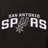 San Antonio Spurs Wool & Leather Reversible Jacket w/ Embroidered Logos - Black - J.H. Sports Jackets