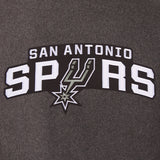 San Antonio Spurs Wool & Leather Reversible Jacket w/ Embroidered Logos - Charcoal/Black - JH Design