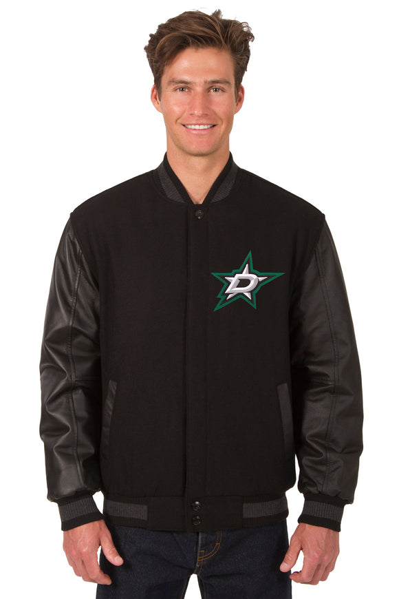 Dallas Stars Wool & Leather Reversible Jacket w/ Embroidered Logos - Black - JH Design