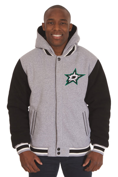 Dallas Stars Two-Tone Reversible Fleece Hooded Jacket - Gray/Black