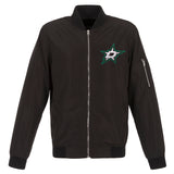 Dallas Stars JH Design Lightweight Nylon Bomber Jacket – Black - JH Design
