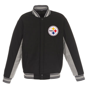 Pittsburgh Steelers JH Design Wool Reversible Full-Snap Jacket – Black - JH Design