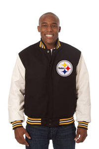 Pittsburgh Steelers Two-Tone Wool and Leather Jacket - Black/White - JH Design