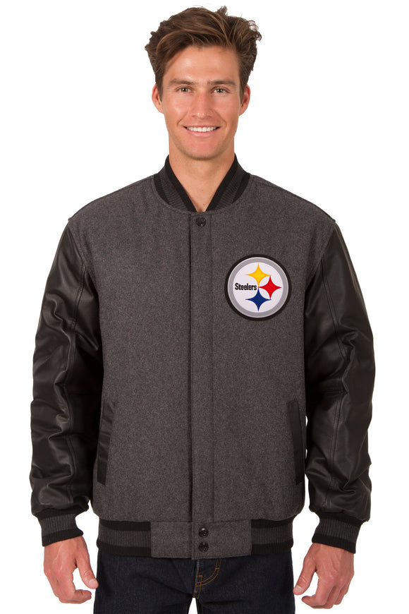 Pittsburgh Steelers Wool & Leather Reversible Jacket w/ Embroidered Logos - Charcoal/Black