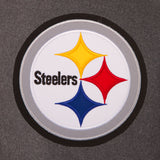 Pittsburgh Steelers Wool & Leather Reversible Jacket w/ Embroidered Logos - Charcoal/Black - JH Design