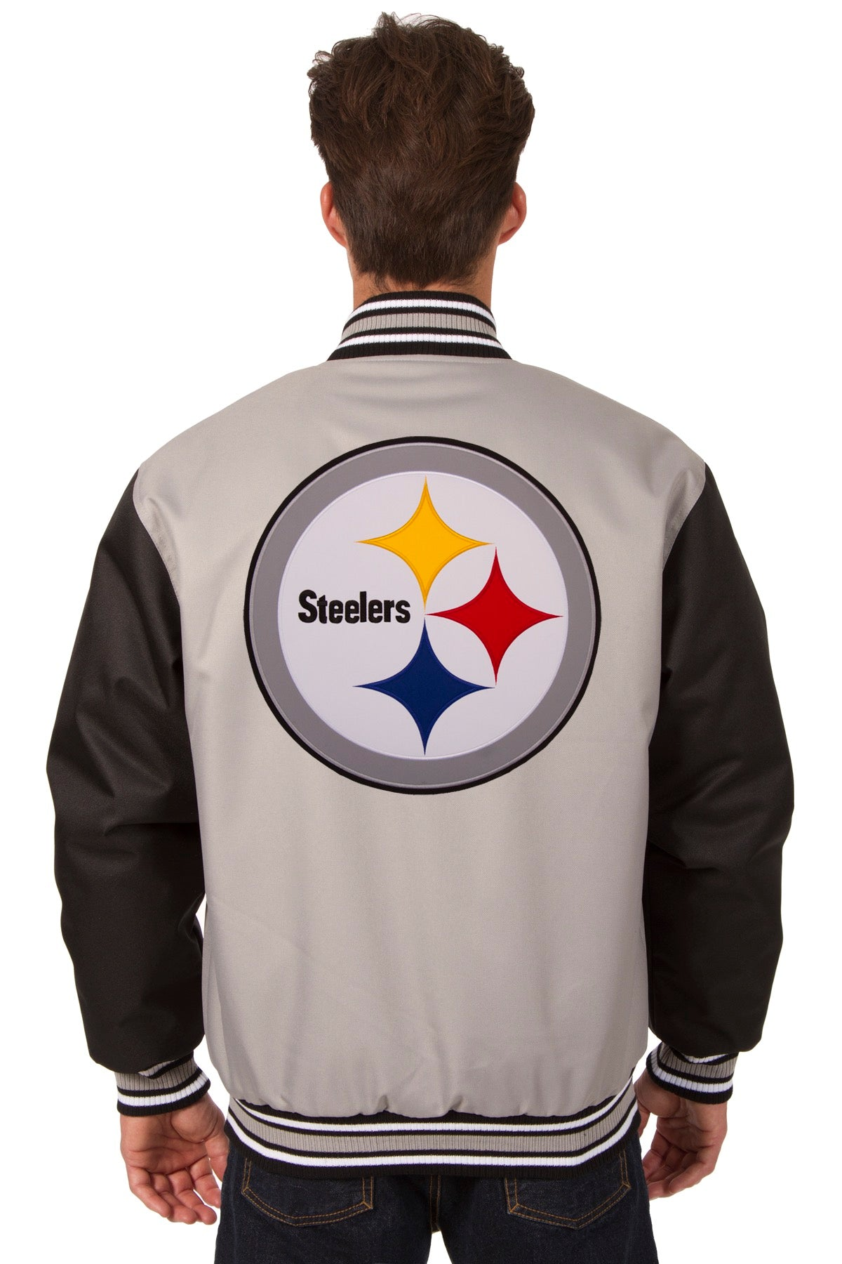 newest 95159 3a35e Pittsburgh Steelers Poly Twill Varsity Jacket - Gray/Black ...