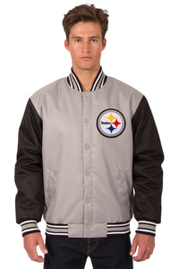 Pittsburgh Steelers Poly Twill Varsity Jacket - Gray/Black - JH Design