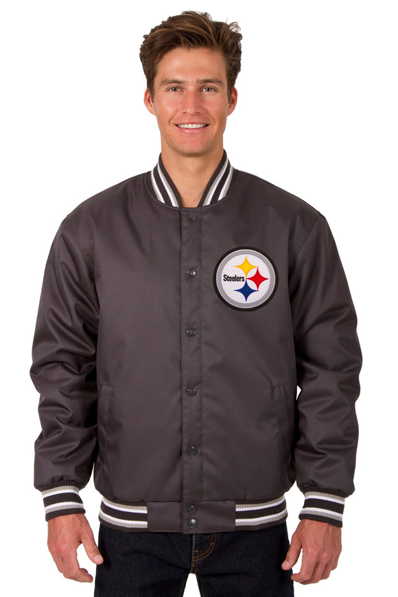Pittsburgh Steelers Poly Twill Varsity Jacket - Charcoal