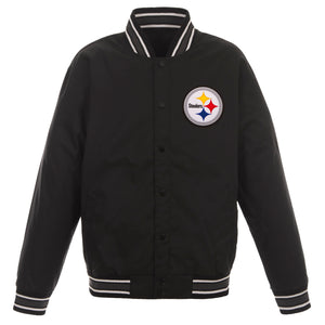 Pittsburgh Steelers Poly Twill Varsity Jacket - Black - JH Design