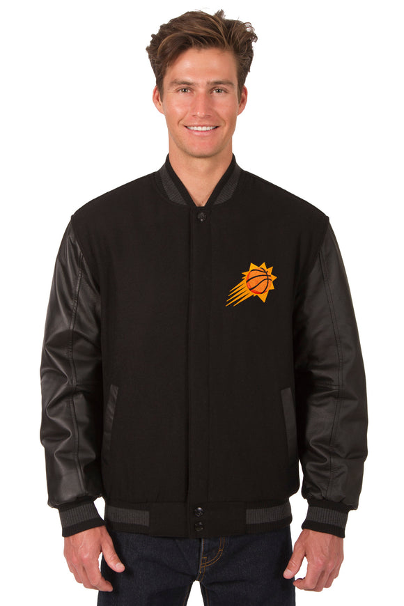 Phoenix Suns Wool & Leather Reversible Jacket w/ Embroidered Logos - Black - JH Design