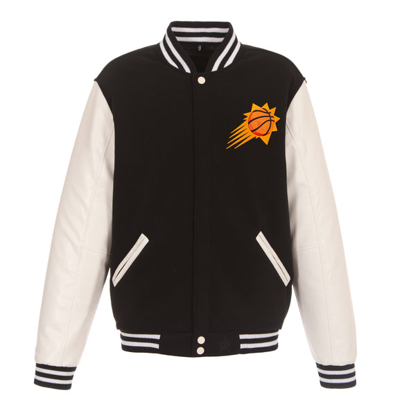 Phoenix Suns - JH Design Reversible Fleece Jacket with Faux Leather Sleeves - Black/White - JH Design